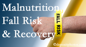 Satterwhite Chiropractic checks patients for fall risks which include nutritional status and malnutrition indicators.