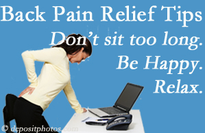 Satterwhite Chiropractic reminds you to not sit too long to keep back pain at bay!