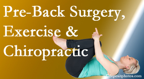 Satterwhite Chiropractic offers beneficial pre-back surgery chiropractic care and exercise to physically prepare for and possibly avoid back surgery.