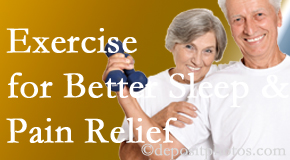 Satterwhite Chiropractic incorporates the suggestion to exercise into its treatment plans for chronic back pain sufferers as it improves sleep and pain relief.