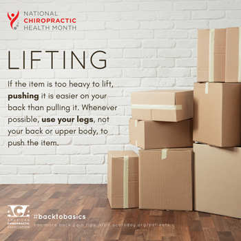 Satterwhite Chiropractic advises lifting with your legs.
